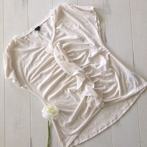 Chiffon Ruffle Front Ruched Off white T-Shirt